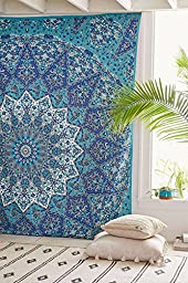 COR\'s Star Mandala Tapestry Indian Wall Hanging, Bedsheet, Coverlet Picnic Beach Sheet , Superior Quality Hippie Wall Tapestry or Bedspread in Organic Cotton Tree of Life 90 x 85 Inches