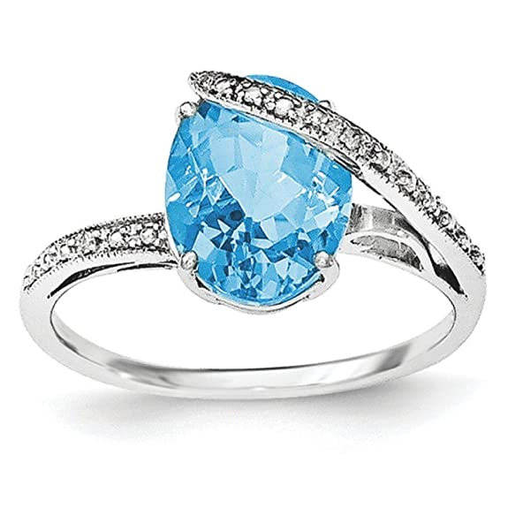 Sterling Silver Polished Swiss Blue Topaz With Diamond Accent Ring - Ring Size Options Range: L to P