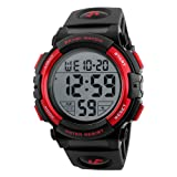 Men's Sports Watches Military Classic Stopwatch Large Dial Electronic LED Backlight Wristwatch 50M Waterproof Digital Watch for Mens with Large Number (Color: Red)