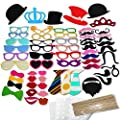 COOLOO Party Photo Booth Props Diy Kit,Paper Prop On A Wood Stick for Taking Funny Photos On Birthday,Wedding,Reunions,Dress-up Costume Accessories with Mustache,Hats,Glasses,Lips,Bowties,60 Pcs