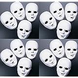 FX Lot of 24 Masks White Plastic Full Face Decorating Craft Halloween School (Tamaño: 24 PACK)