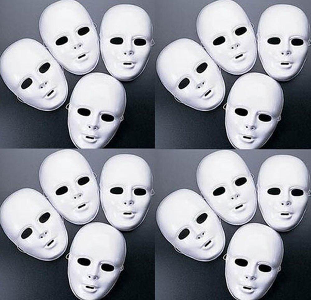 Buy Lot of 24 MASKS White Plastic Full Face Decorating Craft ...