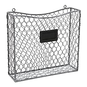 country rustic gray metal wire wall mounted magazine file mail holder basket w. Black Bedroom Furniture Sets. Home Design Ideas