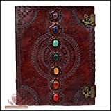 Leather Journal Book Seven Chakra Medieval Stone Embossed Handmade Book of Shadows Notebook Office Diary College Book Poetry Book Sketch Book 10 x 13 Inches (Color: Brown, Tamaño: Large)