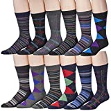 12 Pairs Of excell Mens Designer Cotton Blend Mix Patterns Dress Socks, # 2600