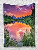 Mountain Tapestry in Wyoming View Decor by Ambesonne, Colorful Sunset Reflection on River Nature Photography, Bedroom Living Kids Girls Boys Room Dorm Accessories Wall Hanging Tapestry, Orange Blue