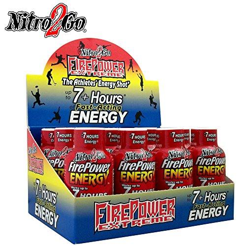 Nitro2Go Energy shots Firepower Energy - Sweet Berry 2 fl Ounce Power Pack of 12 Bottles 7 Hour Stamina Boost