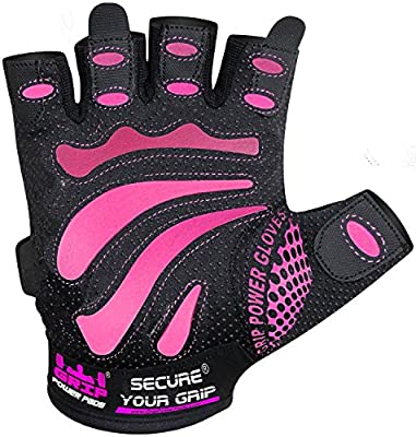Women Gym Gloves - MIMI - Protect Your Hands & Improve Your Grip - Pink & Black Weightlifting Gloves - Easy to Pull On & Off - Adjustable Fit by Grip Power Pads®