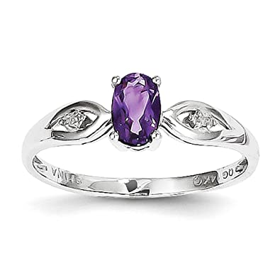 14k White Gold Amethyst Diamond Ring