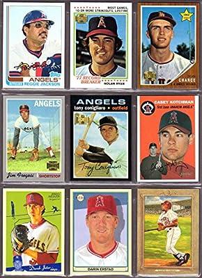 Los Angeles Angels (9) Card Heros REPRINT Baseball Lot #51 (Reggie Jackson) (Nolan Ryan) (Dean Chance Rookie) (Jim Fregosi) (Tony Conigliaro) (Casey Kotchman) (Jered Weaver) (Darin Erstad) (Vladimir Guerrero) (California) (Anaheim)