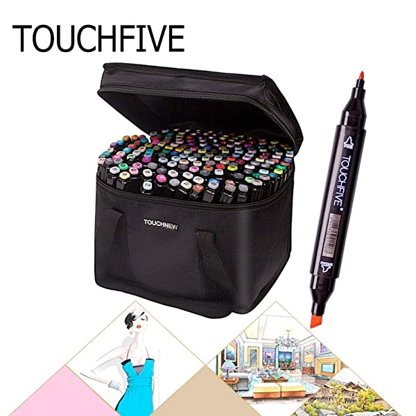 Art Markers|Skin Sketch Marker Pen Touchfive 30/40/60/80/168 Color Dual Brush Sketch Alcohol Marker Art Marker Set Manga Art Supplies|by ATUKI| (Color: Black 80 Color)