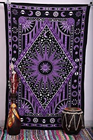Purple Burning Sun Tapestry, Celestial Sun Moon Planet Tapestries, Hippie Hippy Wall Hanging, sun…