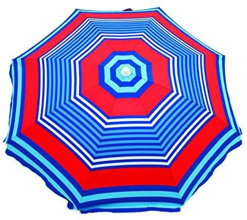 Rio Brands Deluxe Sunshade Umbrella Red Blue Stripe Home