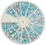 Nail Art MoYou Baby Blue Rhinestone Pack of 1000 Crystal Premium Quality Gemstones in 12 different shapes and sizes, beauty accessory for women nails, fun and easy to apply with top coat or nail glue