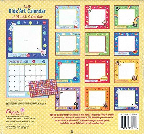 Art Calendar Book : Paper craft kids art calendar month coloring book