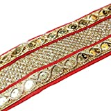 Costume Fabric Red Trim Decorative Embroidered 1.4 Inch Wide Ribbon Paisley Sari Border By 1 Yd