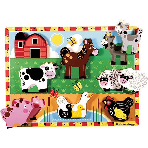 Melissa & Doug Deluxe Farm Animals Chunky Wood Puzzle - 8-pi
