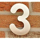 Hausnummer Nr. 3 - Edelstahl gebürstet - 15 cm - witterungsbeständig - einfache Montage