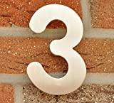 Hausnummer Nr. 3 - Edelstahl geb�rstet - 15 cm - witterungsbest�ndig - einfache Montage