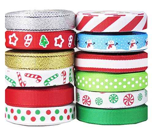 "Fantastic Deal! 60yd (12x5yd) 3/8"" Christmas, Holiday, Winter Grosgrain Ribbon for Hair Bows, G..."