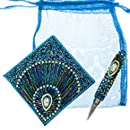 Beaded Notebook and Pen - Turquoise