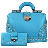 Jeweled Bling Vegan Leather Satchel Cross Body Purse Handbag and Wallet Set