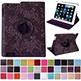 HDE iPad 2/3/4 360 Degree Rotating Leather Folio Smart Case Cover Stand with Smart Cover Auto Wake/Sleep (Burgandy Embossed)
