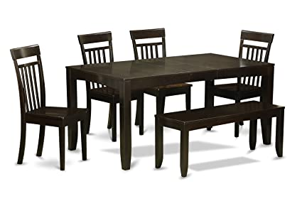 East West Furniture LYCA6-CAP-W 6-Piece Dining Room Table with Bench, Cappuccino Finish