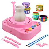IAMGlobal Pottery Wheel, Pottery Studio, Craft Kit, Artist Studio, Ceramic Machine with Clay, Educational Toy for Kids Beginners (Pink) (Color: Pink)