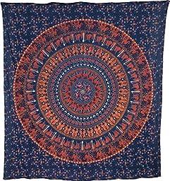 Luna Bazaar Kira Elephant Mandala Tapestry, Bohemian Wall Hanging and Bedspread (Large, 7 X 8 Feet, Blue and Orange, 100% Cotton, Fair Trade Certified)
