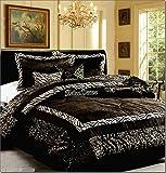 7-Pieces Safari Zebra Animal Print Black & White Comforter Set - KING - *On Sale*