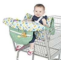 Nuby Shopping Cart and High Chair Cover, Universal Size, Adjustable Safety Straps, Folds into Handbag, Baby's High Chair Cover, Infant Shopping Cart, Green, Yellow and Blue by Nuby