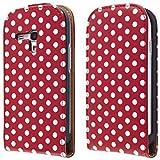 ECENCE 14030402 Samsung Galaxy S3 mini i8190 handy tasche flip case klapp schutz h�lle cover retro rot weiss gepunktet inklusive Displayschutzfolie