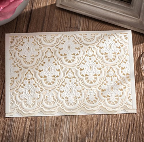 Wishmade 100 Pieces White Laser Cut Wedding Invitations With RSVP Card Stock For Birthday Engagement Graduations Baby Shower Bridal shower Party CW6085