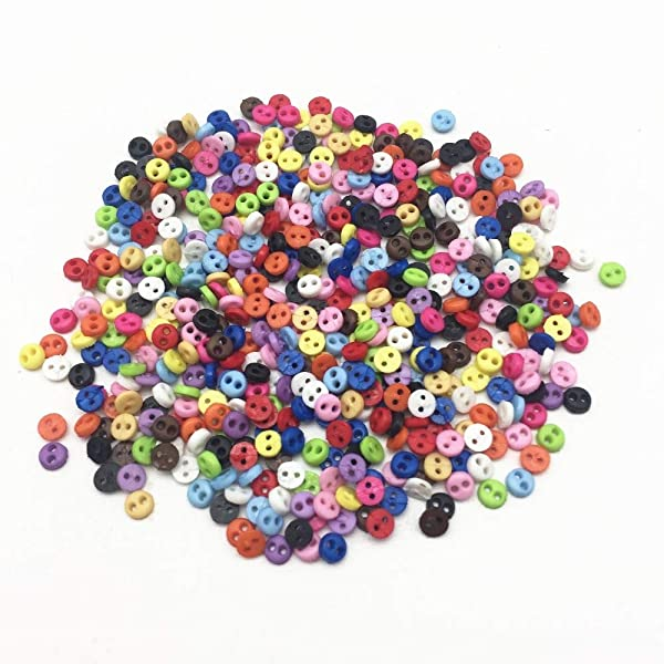 Buttons | 500Pcs 4Mm Mixed Mini Tiny Resin Round Doll Clothing Buttons Embellishments Handmade Sewing Scrapbooking Accessories | by CLAIRE