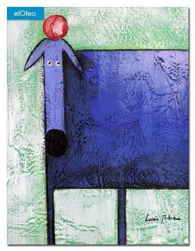 elOleo Pop Art – Der lustige violette Hund 40×30 Gemälde auf Leinwand handgemalt 83081A günstig kaufen