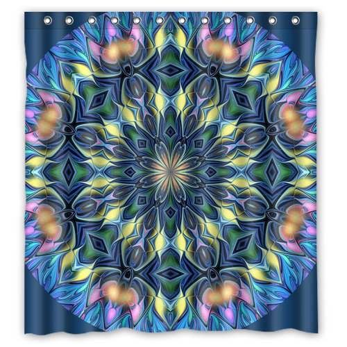 sysf hippie funny novelty tie dye mandala custom create designer bath waterproof bathroom shower curtains 66x72 inches