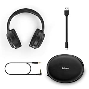Active Noise Cancelling Headphones, Boltune Bluetooth 5.0 Over Ear Wireless Headphones with Mic Deep Bass, Comfortable Protein Earpads 30H Playtime for Travel Work TV PC Cellphone (Color: Black, Tamaño: 1)