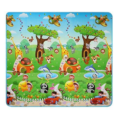 Arshiner Baby Spielteppich Spielmatte Puzzlematte Kinderteppich für Innen / Außen Dinosaurier und Auto zwei Seite