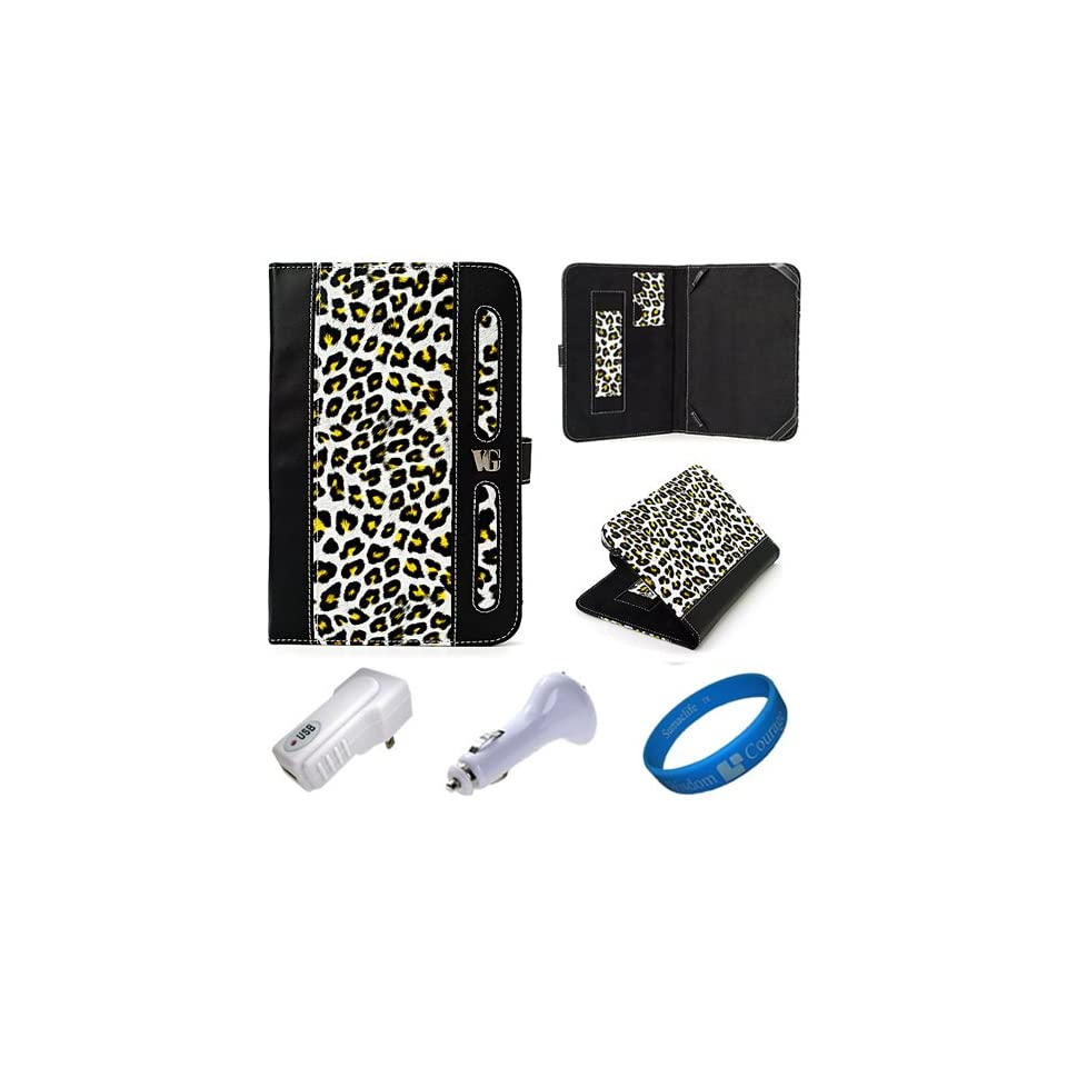 Dauphine Edition Yellow Leopard Executive Leather Folio Case Cover for  Kindle Fire 7 inch Multi Touch Screen Tablet   8GB Android Wireless (Wifi) Tablet + White USB Car Charger + White USB Wall / Home Charger + SumacLife TM Wisdom Courage Wristband