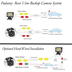 Padarsey LED Backup Camera and Monitor,Car Rear View Camera Waterproof High Definition 170 Degree Viewing Angle,Universal Mount (Front View/Rear View)+7 Monitor for Bus/Truck Van/Trailer/RV/Campers (Color: Backup Camera System(PDY-7013))