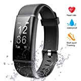Lintelek Fitness Tracker, Heart Rate Monitor Activity Tracker Sleep Monitor, Measuring Calories Step Counter IP67 Waterproof Smart Watch Wearable Device for Men Women Kid Android iOS Veryfitpro (Color: Black)