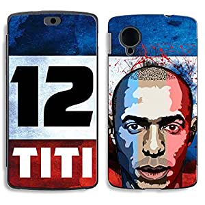 Bluegape LG Naxus 5 D821 Thierry Henry Football Player Phone Skin Cover, Multicolor