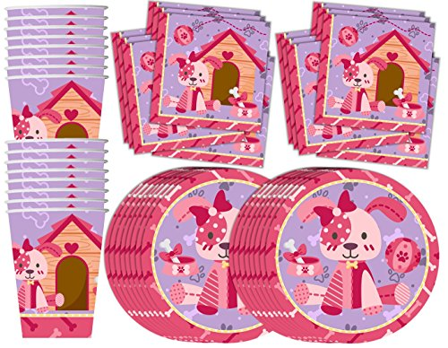 Pink Girl Puppy Dog Birthday Party Supplies Set Plates Napkins Cups Tableware Kit for 16