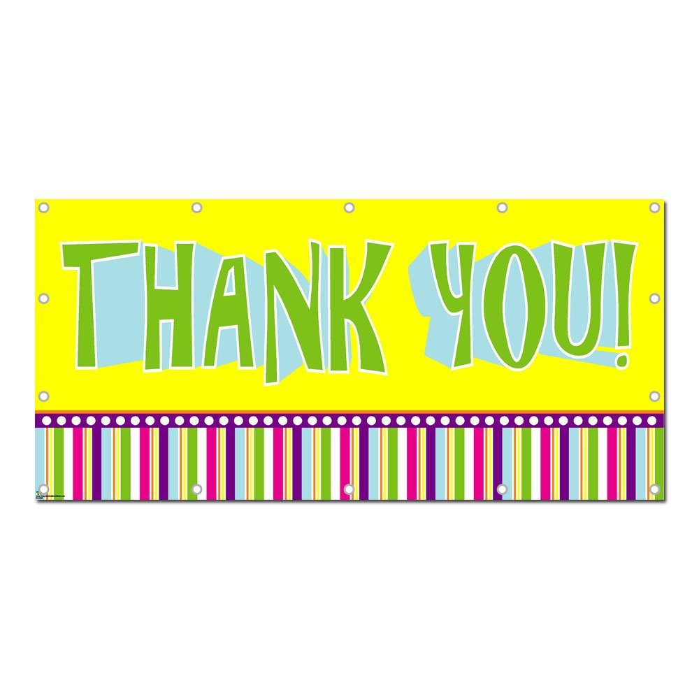 Thank You Colorful - Party Celebration 8'x4' Banner