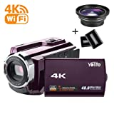 Camcorder,Yolife 4K Ultra HD Digital Video Camera Recorder with Wide Angle Lens,30FPS Wifi Camcorder with Night Vision,3.0