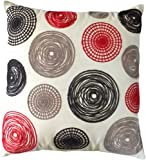 "Decorative Knitting Yarn Embroidery Multi-color Circles Throw Pillow COVER 18"" Red Black"