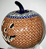 "9"" Polish Pottery Stoneware Pumpkin Halloween Jack-o'-lantern EOS Unikat Early October Orange"