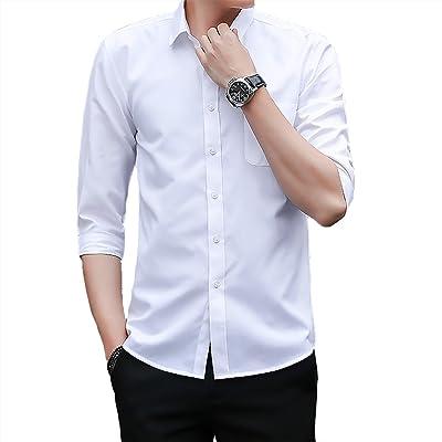 (ユディモニール)Eudemonia シャツ メンズ 形態安定 オックスフォード 七分袖 ボタンダウン 白 ホワイト (L-(日本サイズS相当)