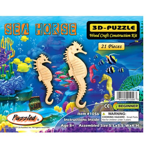Puzzled Seahorse 3D Natural Wood Puzzles (21 Piece)
